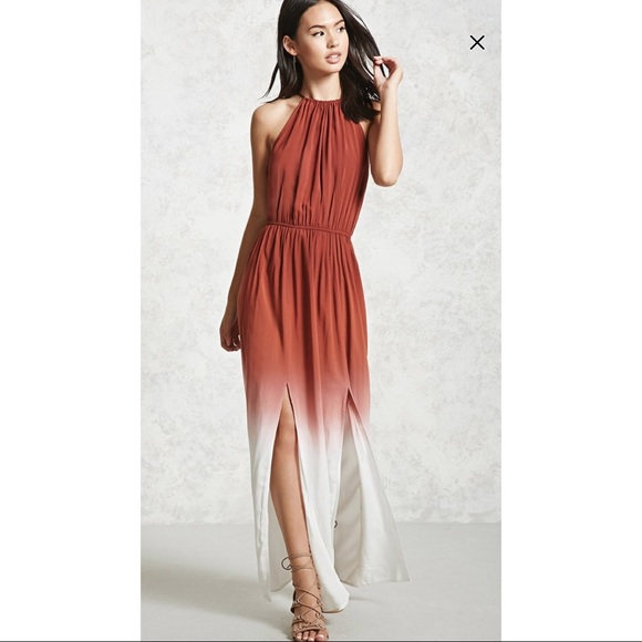 27dc48a7cf0 Ombre Die Maxi Dress - Rust and Cream Color